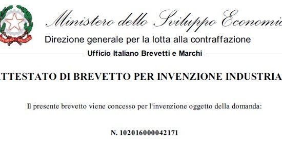 Attestazione brevetto italiano 2018.0383076